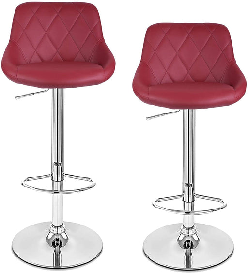 Janice Leatherette Swivel Adjustable Height Bar Stool with Mid-Backrest (Deep Red) - Set of 2