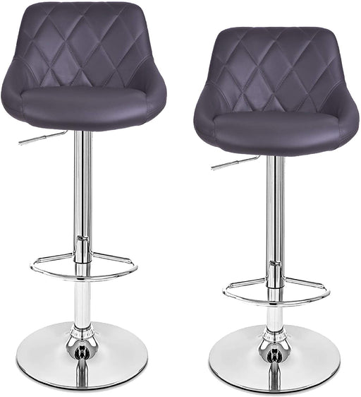 Janice Leatherette Swivel Adjustable Height Bar Stool with Mid-Backrest (Grey) - Set of 2