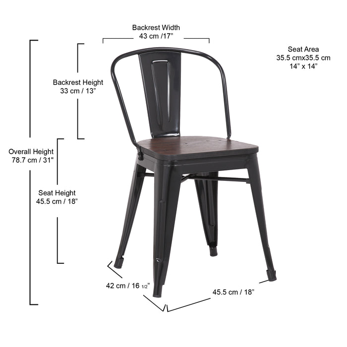 Burton Metal Dining Chair with Mid-Backrest and Glossy Black Legs - Set of 4