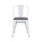 Burton Metal Dining Chair with Mid-Backrest and Glossy White Legs - Set of 4