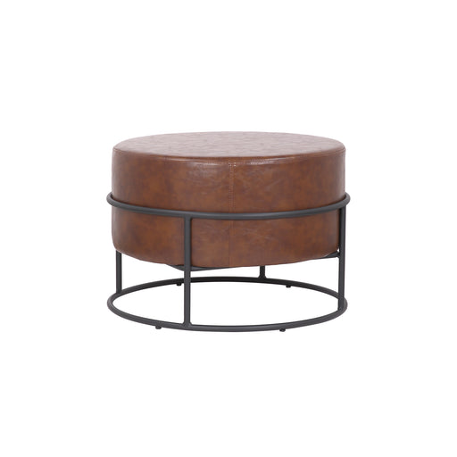 Oliver Leatherette Round Ottoman with Black Metal Legs (Caramel Brown) - 1 Unit