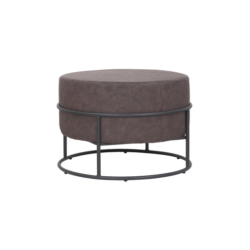 Oliver Leatherette Round Ottoman with Black Metal Legs (Brown) - 1 Unit