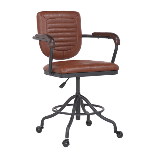 Noah Leatherette Office Chair with Adjustable Height and Caster Wheels (Brown) - 1 Unit
