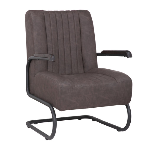 Lucas Leatherette Armchair with Matte Black Metal Legs (Dark Brown) - 1 Unit