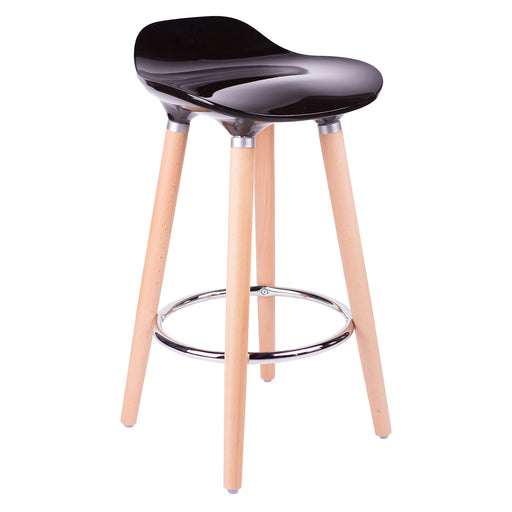 1 Unit Bronte Living Black ABS Bar Stool 26 Height with Wooden Natural Legs Backless