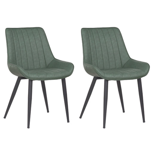 Charlotte Leatherette Dining Chair with Metal Legs and Mid-Backrest - Green (Set of 2)