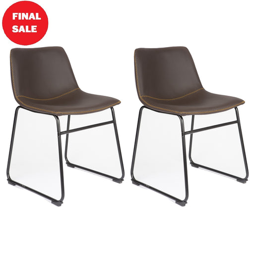 FINAL SALE Aria Leatherette Dining Chair with Backrest (Dark Brown with yellow threads) - Set of 2