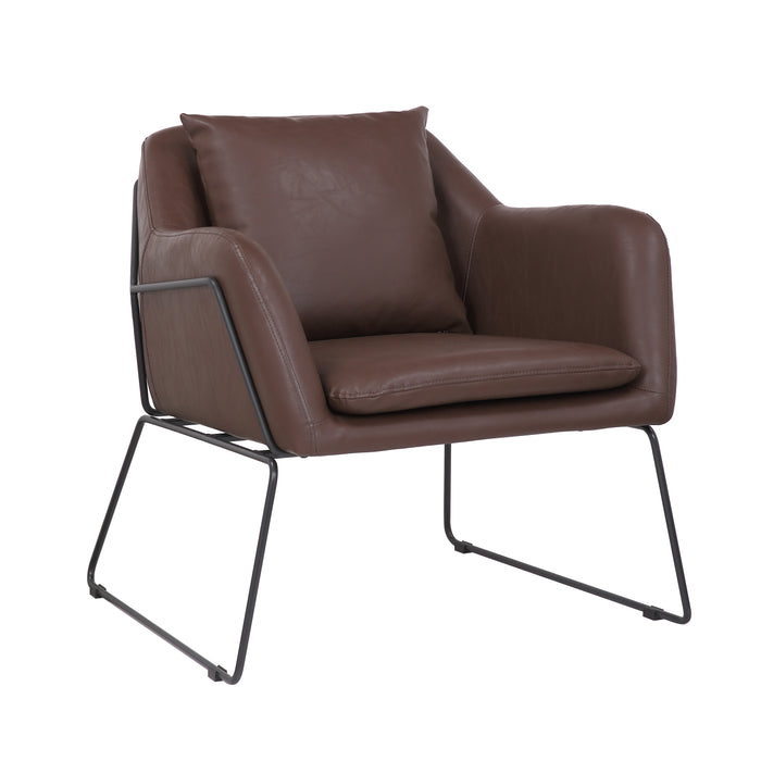 Mason Leatherette Armchair with Matte Black Metal Legs (Walnut Brown) - 1 Unit