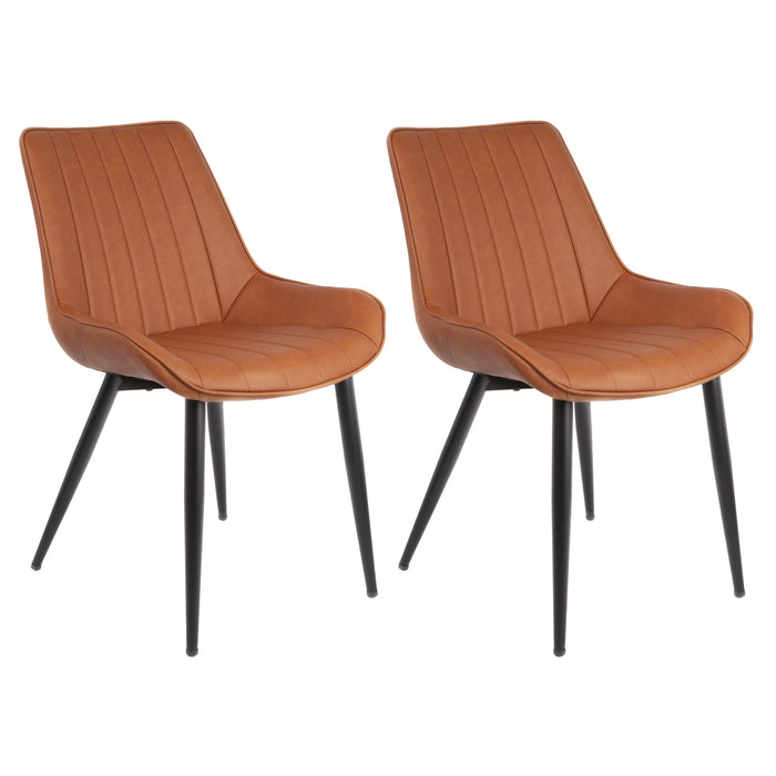 Charlotte Leatherette Dining Chair with Metal Legs and Backrest - Caramel Brown (Set of 2)