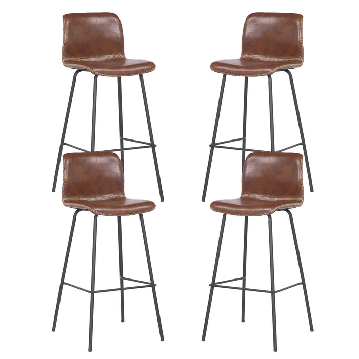 Mathias 30 inch Modern Leatherette Bar Stool with Black Metal Legs and Backrest (Brown) - Set of 4