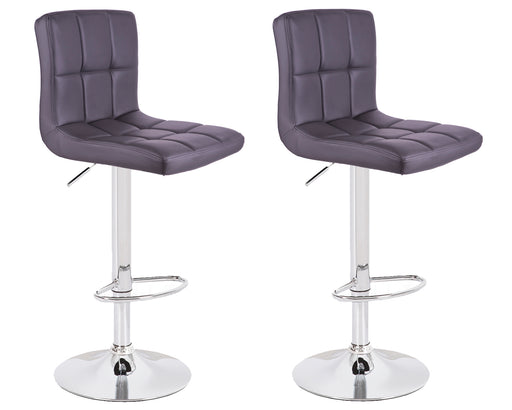 Clementine Leatherette Swivel Adjustable Height Bar Stool (Dark Grey) - Set of 2