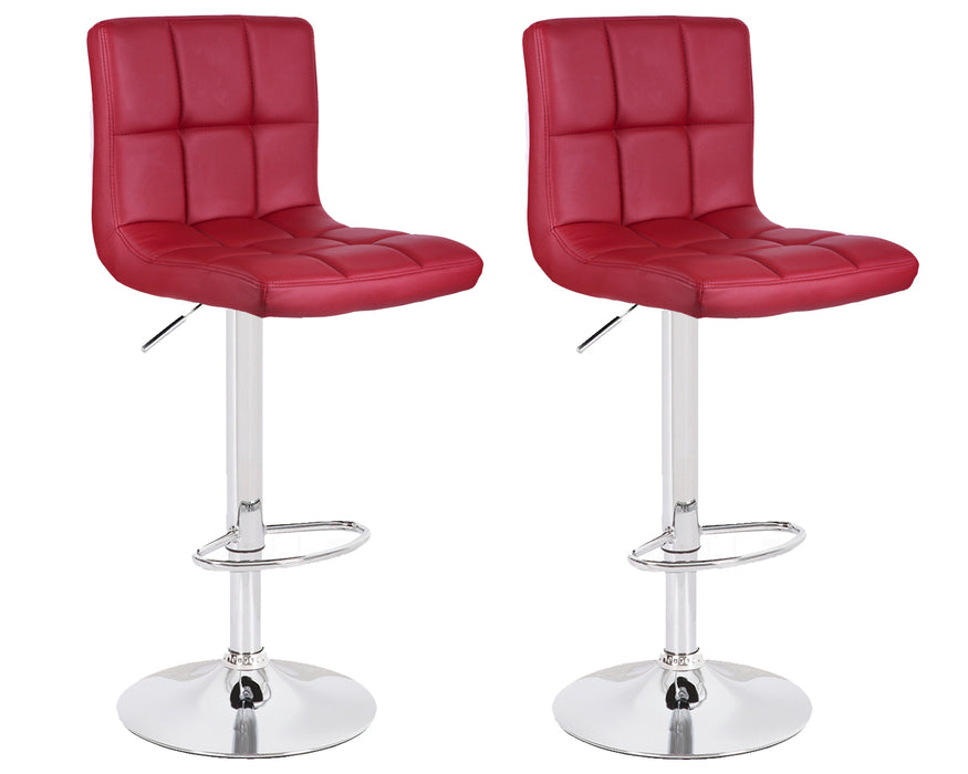 Clementine Leatherette Swivel Adjustable Height Bar Stool (Deep Red) - Set of 2