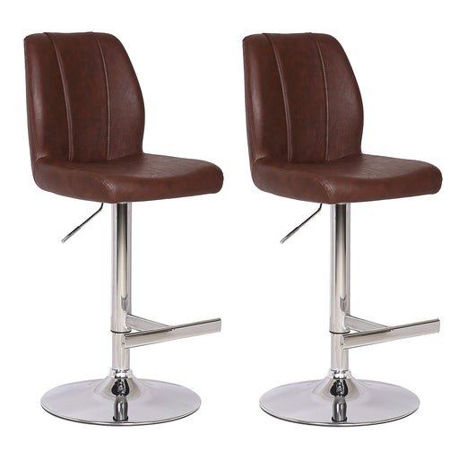 Capri Leatherette Swivel Adjustable Height Bar Stool - Brown (Set of 2)