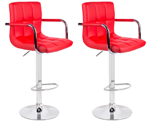 Grace Leatherette Swivel Adjustable Height Bar Stool (Red) - Set of 2