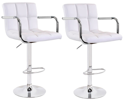 Grace Leatherette Swivel Adjustable Height Bar Stool (White) - Set of 2