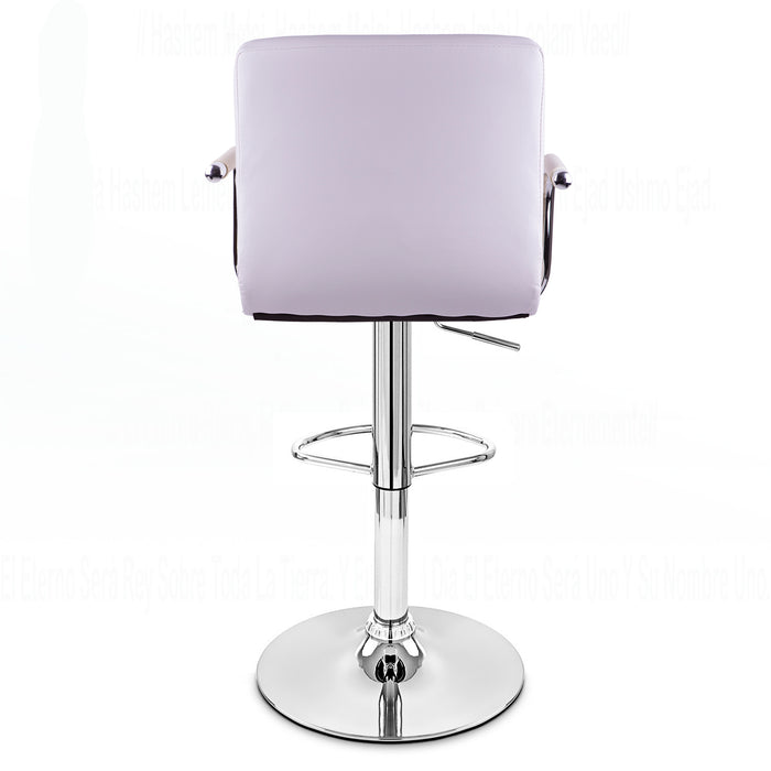 Grace Leatherette Swivel Adjustable Height Bar Stool (White)