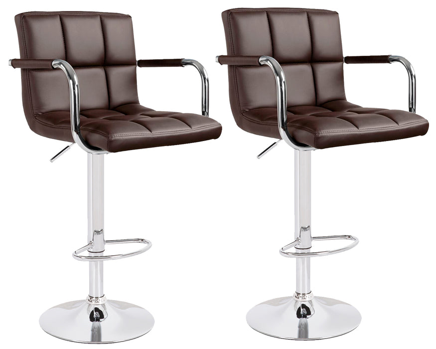 Grace Leatherette Swivel Adjustable Height Bar Stool (Dark Brown) - Set of 2