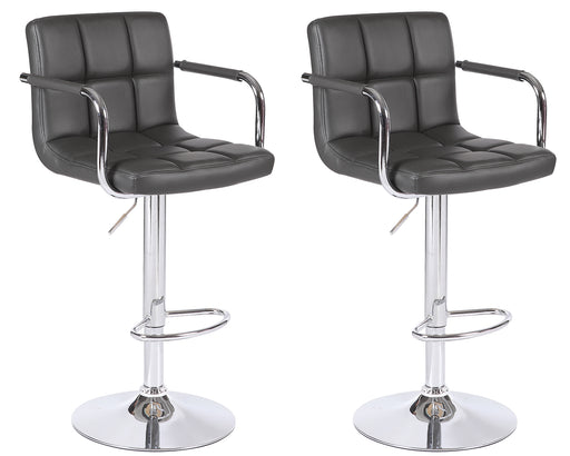 Grace Leatherette Swivel Adjustable Height Bar Stool (Dark Grey) - Set of 2