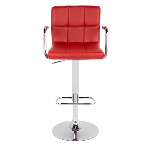Grace Leatherette Swivel Adjustable Height Bar Stool (Deep Red)