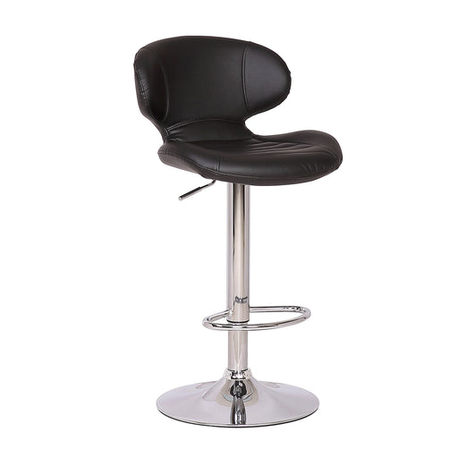 Houston Leatherette Swivel Adjustable Height Bar Stool (Black)