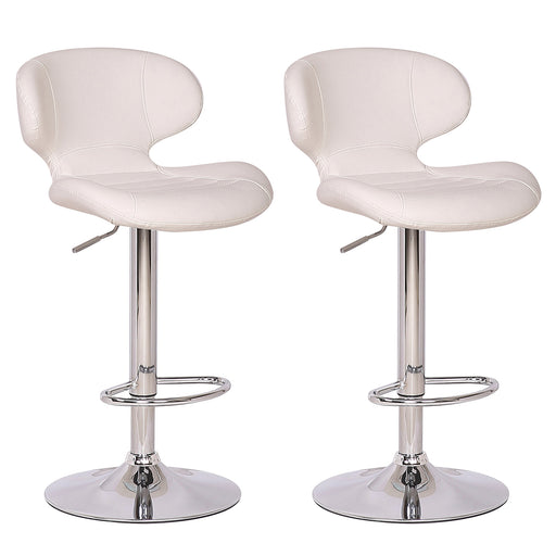 Houston Leatherette Swivel Adjustable Height Bar Stool - White (Set of 2)