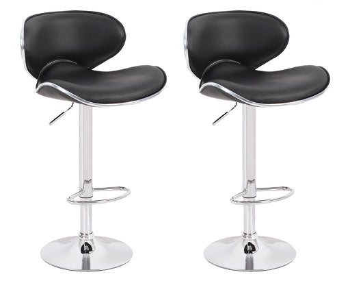 Claudia Leatherette Swivel Adjustable Height Bar Stool with Mid-Backrest (Black) - Set of 2