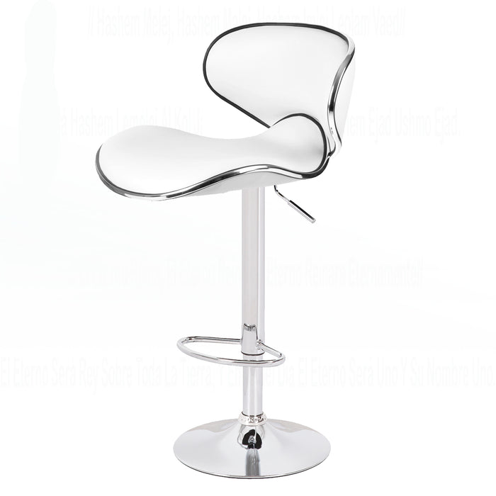 Claudia Leatherette Swivel Adjustable Height Bar Stool with Mid-Backrest (White) - Set of 2