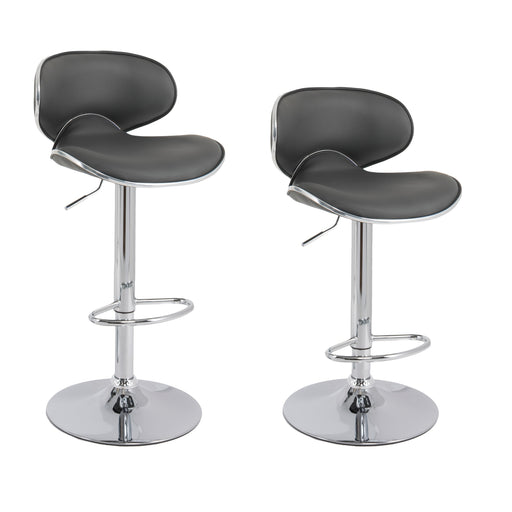Claudia Leatherette Swivel Adjustable Height Bar Stool with Mid-Backrest (Grey) - Set of 2
