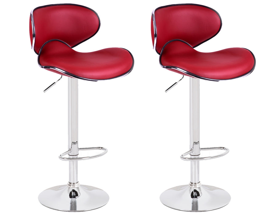 Claudia Leatherette Swivel Adjustable Height Bar Stool with Mid-Backrest (Deep Red) - Set of 2