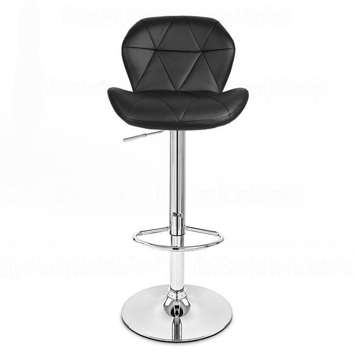 Carmela Leatherette Swivel Adjustable Height Bar Stool (Black)