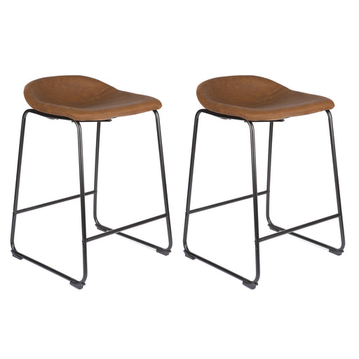 "Jacob 26"" Counter Stool with PU Leather (Tan Brown) - Set of 2"