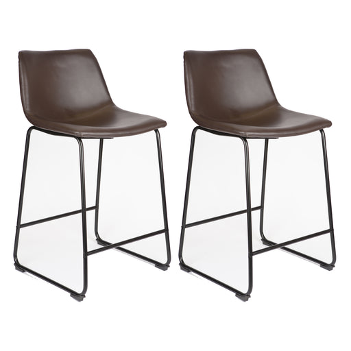 "Cleo Leatherette Counter Stool 26"" with Mid-Backrest (Dark Brown) - Set of 2"