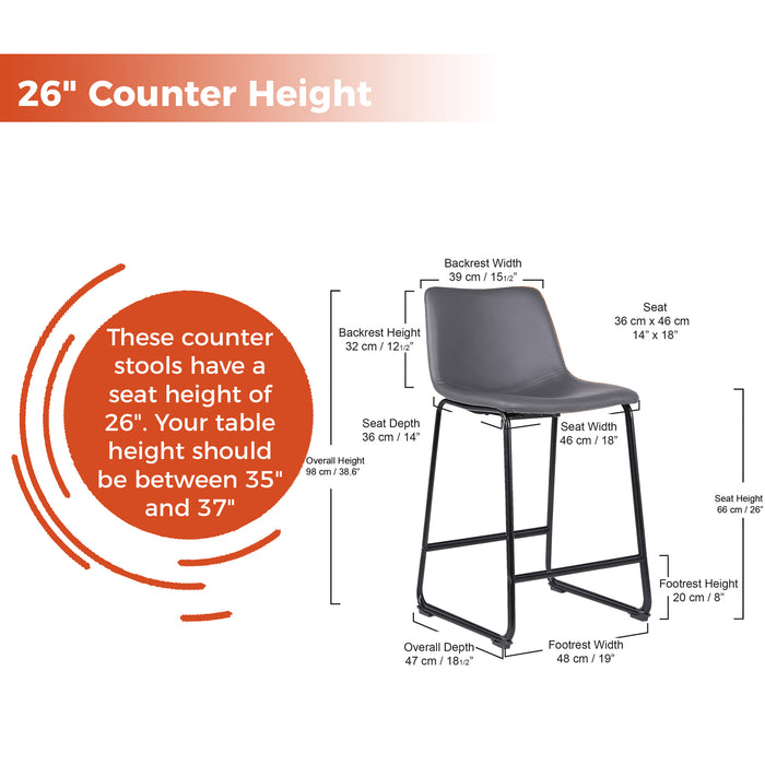 "Cleo Leatherette Counter Stool 26"" with Mid-Backrest (Gray) - Set of 2"