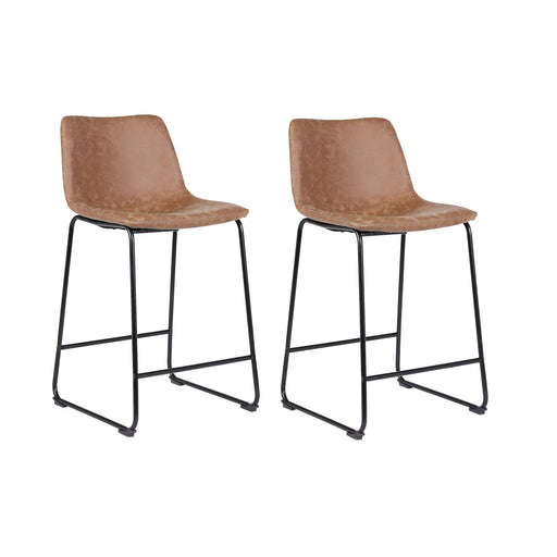 "Cleo Leatherette Counter Stool 26"" with Mid-Backrest (Light Brown) - Set of 2"