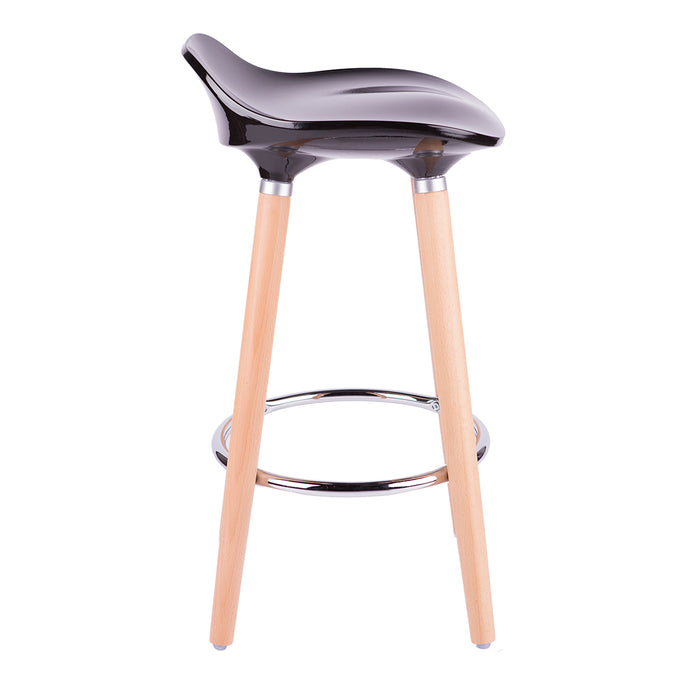 "Vienna 30"" Black ABS Bar Stool with Natural Wooden Beech Legs - Set of 2"