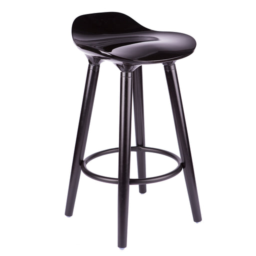 "Vienna 30"" Black ABS Bar Stool with Black Wooden Beech Legs"