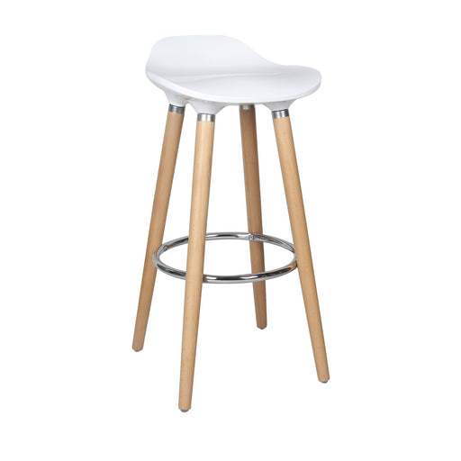 "Vienna 30"" White ABS Bar Stool with Natural Wooden Beech Legs"