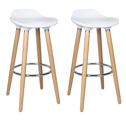 "Vienna 30"" White ABS Bar Stool with Natural Wooden Legs - Set of 2"