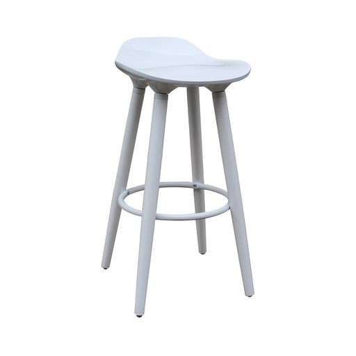 "Vienna 30"" White ABS Bar Stool with White Wooden Beech Legs"