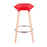 "Vienna 30"" Red ABS Bar Stool with Natural Wooden Beech Legs"