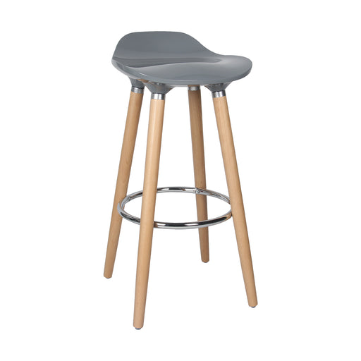 "Vienna 30"" Grey ABS Bar Stool with Natural Wooden Legs - 1 Unit"