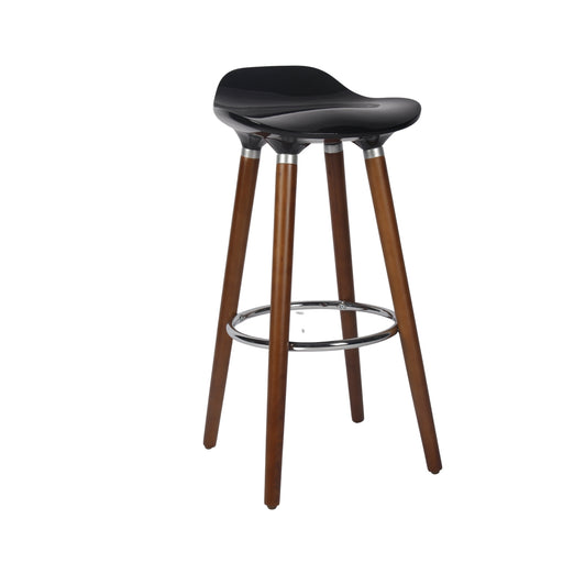 "Vienna 26"" Black ABS Counter Stool with Dark Walnut Wooden Beech Legs"