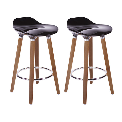 "Vienna 30"" Black ABS Bar Stool with Walnut Wooden Legs - Set of 2"