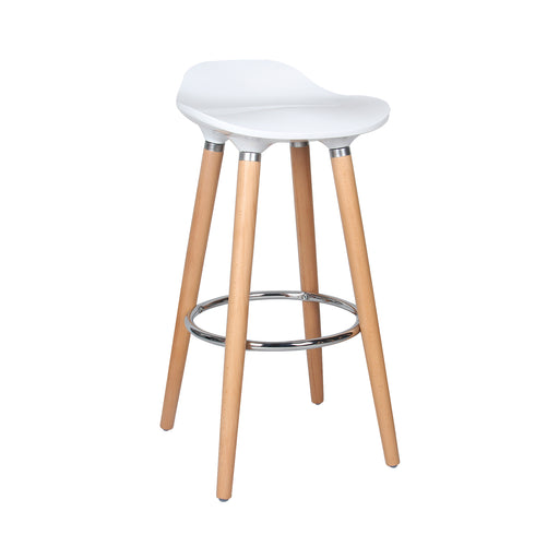 "Vienna 26"" White ABS Counter Stool with Natural Wooden Legs - 1 Unit"