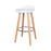 "Vienna 26"" White ABS Counter Stool with Natural Wooden Legs - Set of 2"