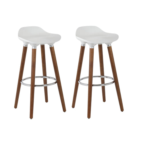 "Vienna 30"" White ABS Bar Stool with Walnut Wooden Legs - Set of 2"