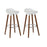 "Vienna 26"" White ABS Counter Stool with Walnut Wooden Legs - Set of 2"
