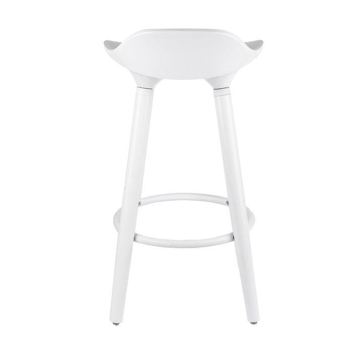 "Vienna 26"" White ABS Counter Stool with White Wooden Beech Legs"