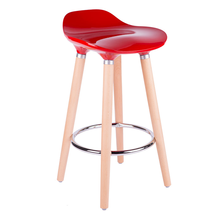 "Vienna 30"" Red ABS Bar Stool with Natural Wooden Legs - 1 Unit"