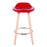 "Vienna 26"" Red ABS Counter Stool with Natural Wooden Legs - 1 Unit"
